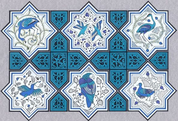 """Birds of Sultan Marsh on Kubadabad Palace Tiles"" by Gulcin Anmac."