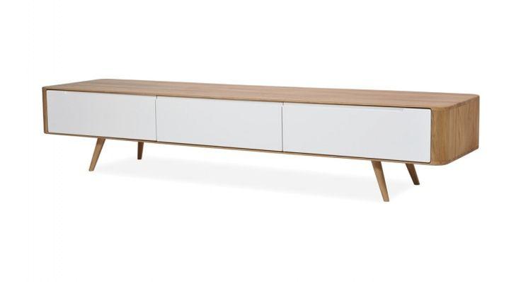 Tv-meubel Loca Massief eikenhout Eiken-wit 225 cm