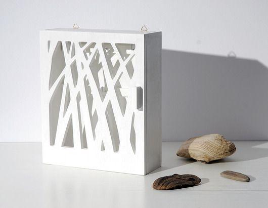 Skrzynka na klucze NATURA - drewniana, biała