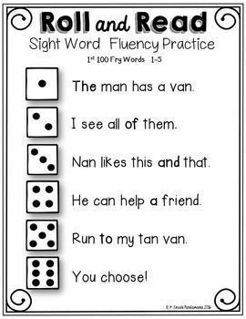 Practice sight word fluency with this Fry Sight Word Roll and Read Center {1st 200 Fry Words}