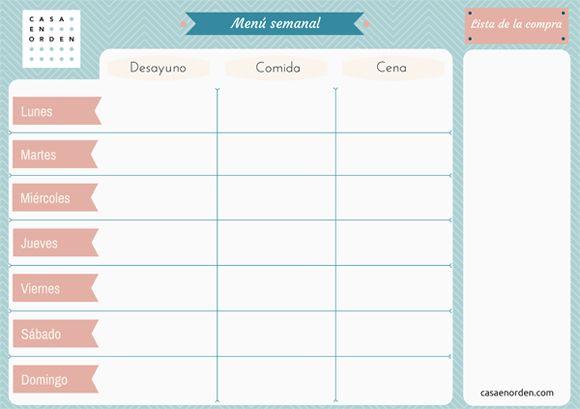 Menú semanal para programar tus comidas y la compra de la semana