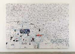 White Painting, 2009, Mark Bradford, string, mixed media, collage on canvas, 259 x 366 cm., Los Angeles
