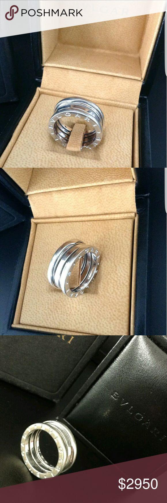 bvlgari b zero1 ring this is an excellent u0026 iconic bvlgari b zero1 ring 18k white gold hallmarked inside with original boxes size m english size 53 uk