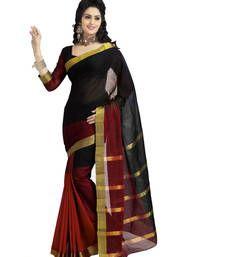 Buy Black Plain cotton saree with blouse Online