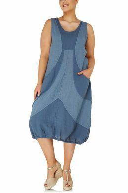 Lange jurk van gestreept linnen, Indigo | Paprika