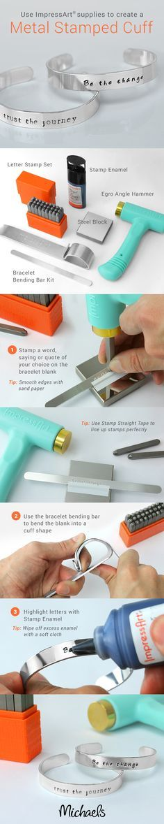 Spell it out and make an impression with this easy DIY Metal Stamped Cuff bracelet