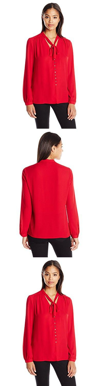 Karen Kane Women's Tie-Neck Button-Front Blouse, Red, XS
