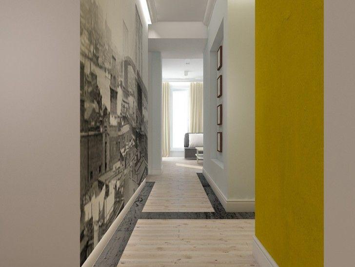 Aranżacja wnętrza korytarza w apartamencie - Tissu. Jasny, elegancki korytarz wzbogacono o czarno-białą fototapetę i intensywne akcenty. http://www.tissu.com.pl/zdjecia/266