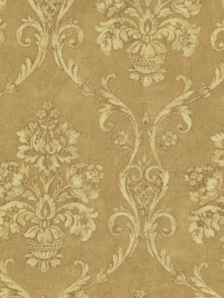 Interior Place Gold Petite Damask Wallpaper, 33.99
