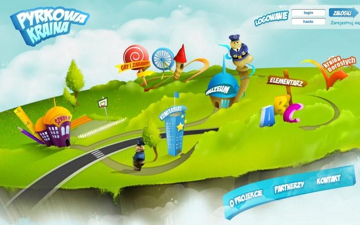 """W """"Pyrkowej Krainie"""" zamieszczone są interaktywne gry i zabawy. Zachęcają dzieci nie tylko do zabawy, ale również do nauki. Dodatkowo dzieci uczą się tu postępować według ustalonych norm i zasad."""