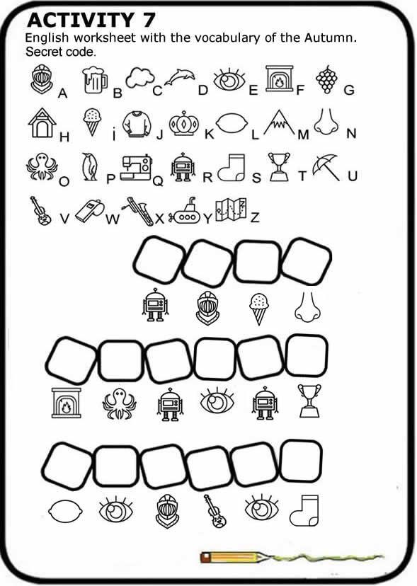 English Worksheet To Print With The Vocabulary Of Autumn Secret Code Ficha Gratis De Ingles Vocabulario Del O Math Worksheets Kids Math Worksheets Secret Code