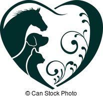 herz, Liebe, hund, katz, logo, Pferd