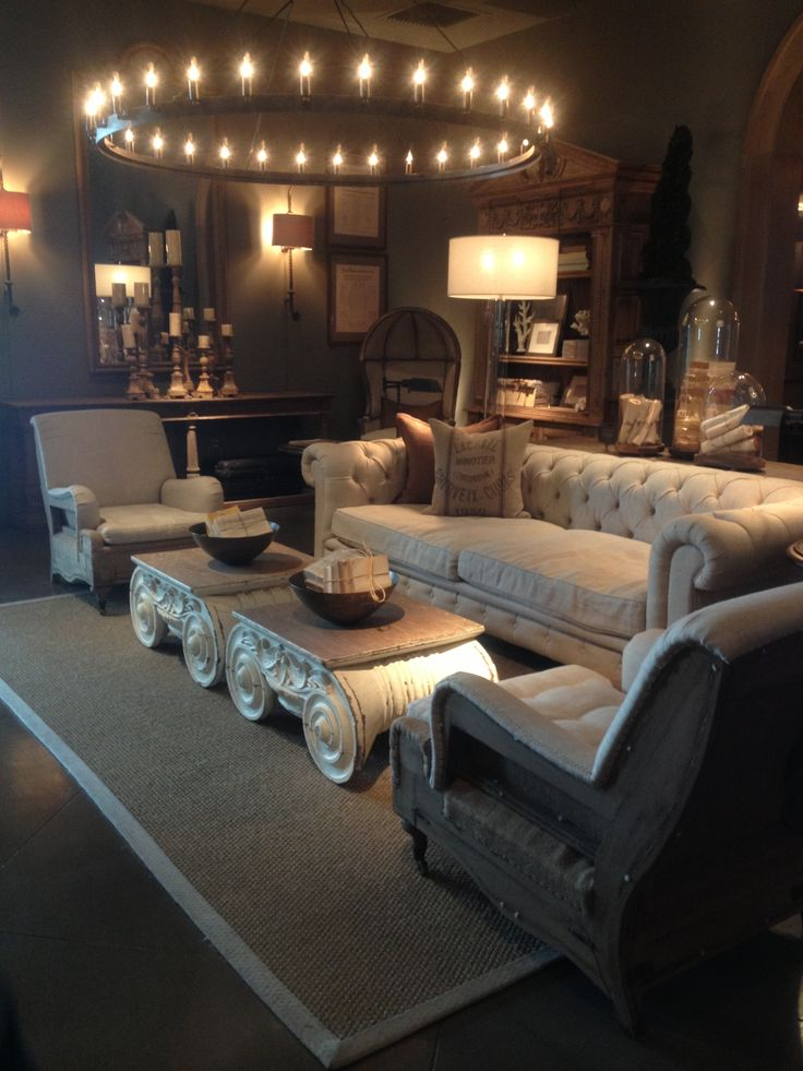 Restoration Hardware Living Room. Dream sofa- chesterfield tufted sofa.