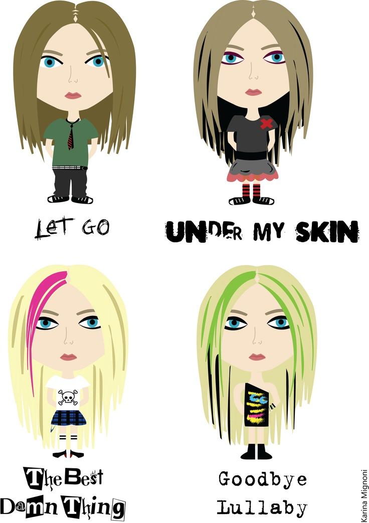 Avril Lavigne Illustration by: @karinamignoni    Let Go  Under My Skin  The Best Damn Thing  Goodbye Lullaby