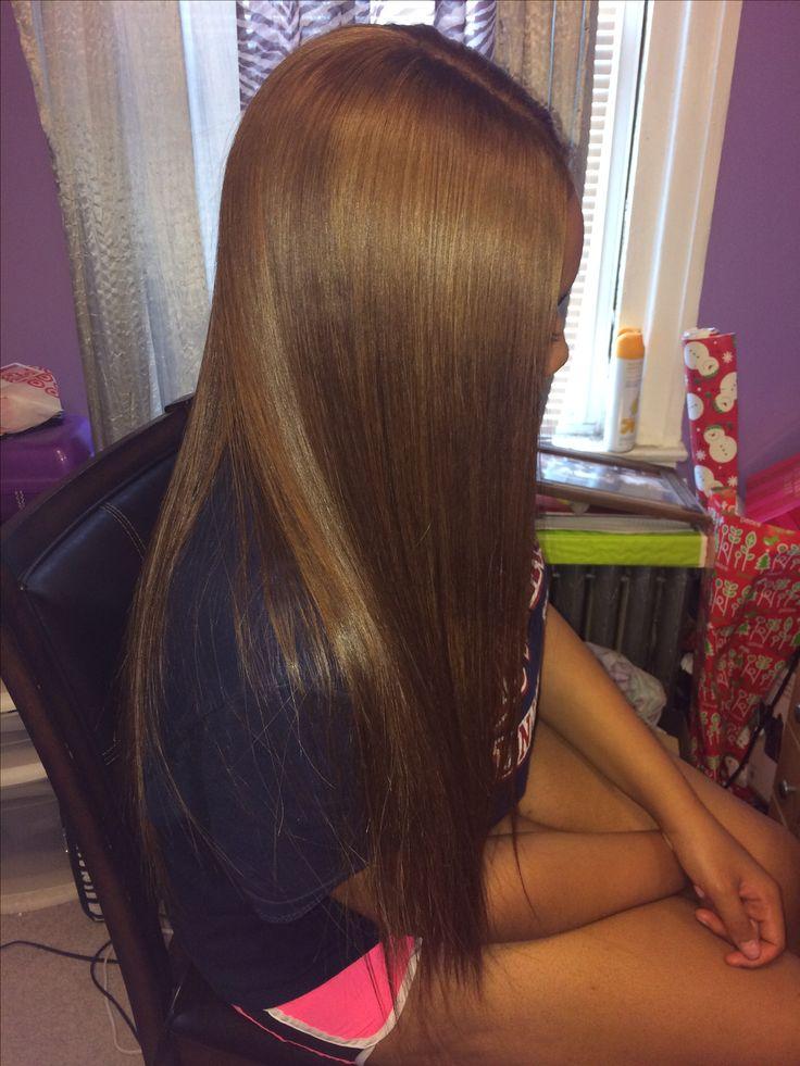 Honey blonde long weave