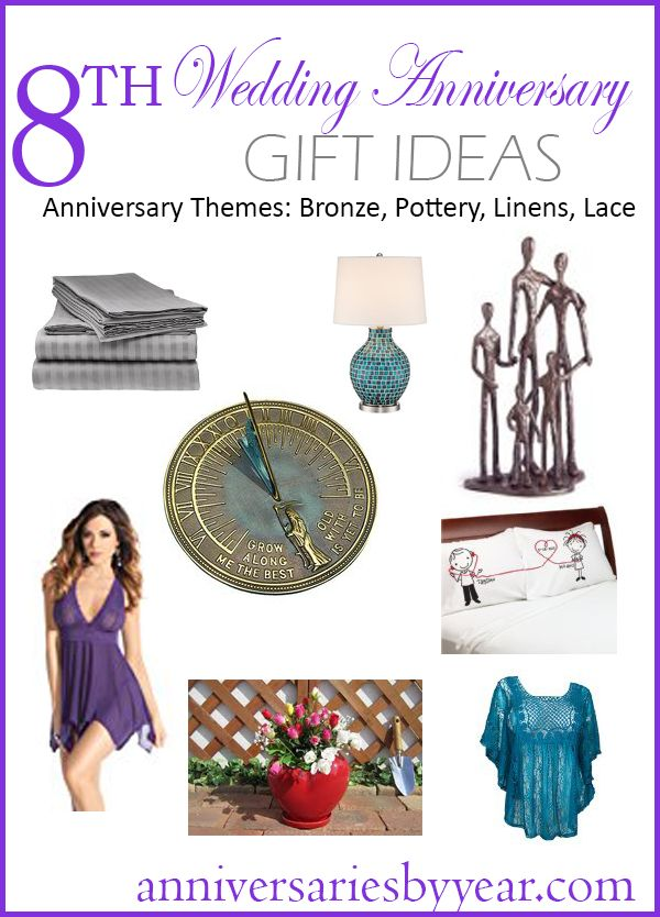 8th Anniversary gift ideas for Bronze, Pottery, Linens and Lace themes.  #laceanniversary #bronzeanniversary #lace #linens #pottery #anniversary #gifts #ideas #8thanniversary