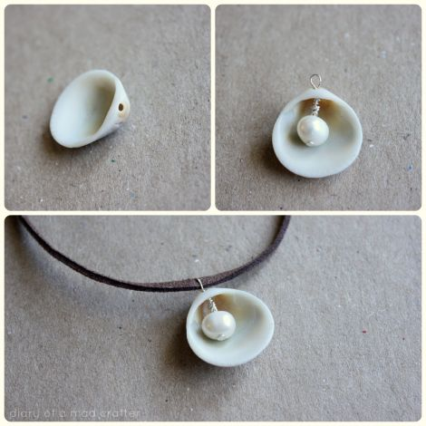 DIY PEARL IN SHELL NECKLACE