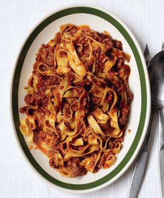 Classic Ragu Bolognese Recipe at Epicurious.com.   the only modifications I made were - i used only veal and panchetta, added garlic, added 1/2 cup wine, used 1/2 cup less broth, and no milk.