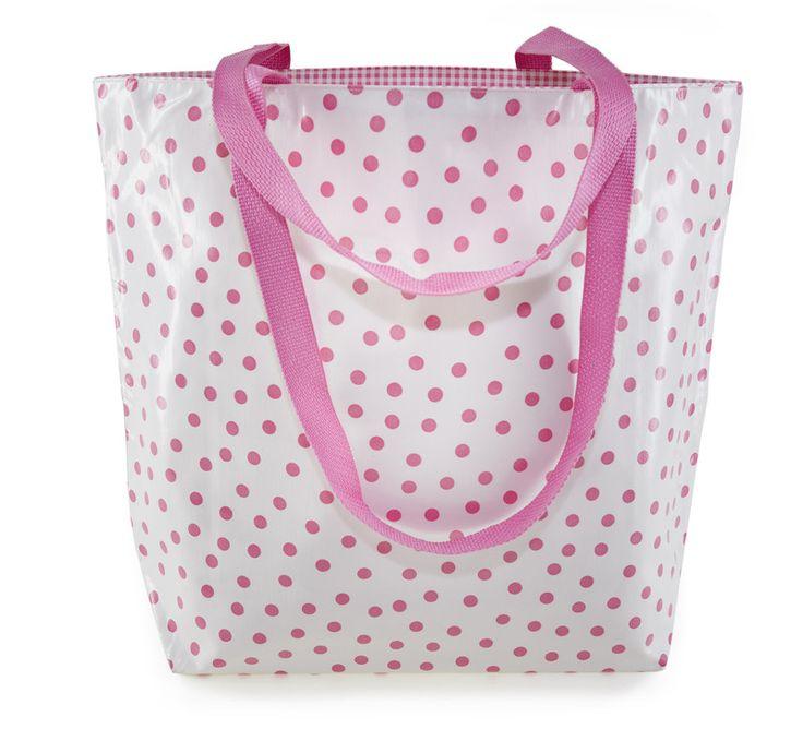 Reversible Oilcloth Totebag - Pink Polka / oilclothalley.com