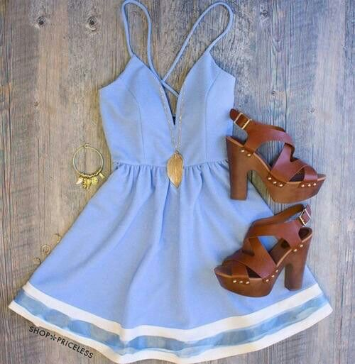 Baby blue dress and brown shoes minus the shoes but cute!!