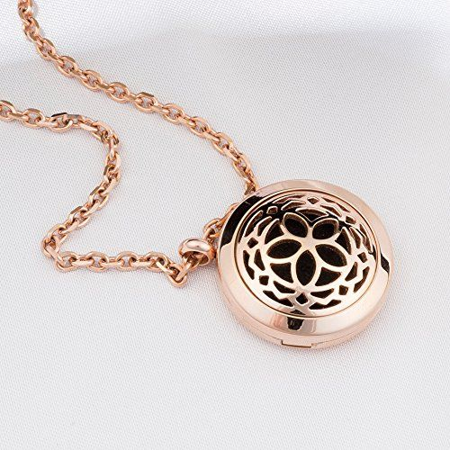 Aromatherapy Essential Oil Diffuser Necklace Jewelry - Rose Gold - Hypo-Allergenic 316L Surgical Grade Stainless Steel Locket Pendant Necklace! INCLUDES 3 WASHABLE Pads Fine Line Living http://www.amazon.com/dp/B013XA5ZQ2/ref=cm_sw_r_pi_dp_f59Pwb0GF8789