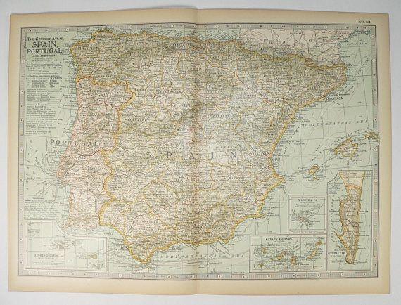 Vintage Spain Map, Portugal Andorra Map 1899 Antique Map Spain, European Travel Map, Spain Gift for Couple, Spanish Decor, Balearic Islands available from www.OldMapsandPrints.Etsy.com #Spain #Portugal #Andorra #AntiqueMapofSpain #1899CenturySpainMap
