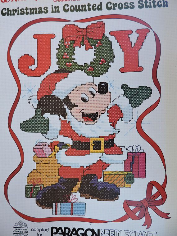 Mickey Mouse Walt Disney Characters Christmas in Counted Cross