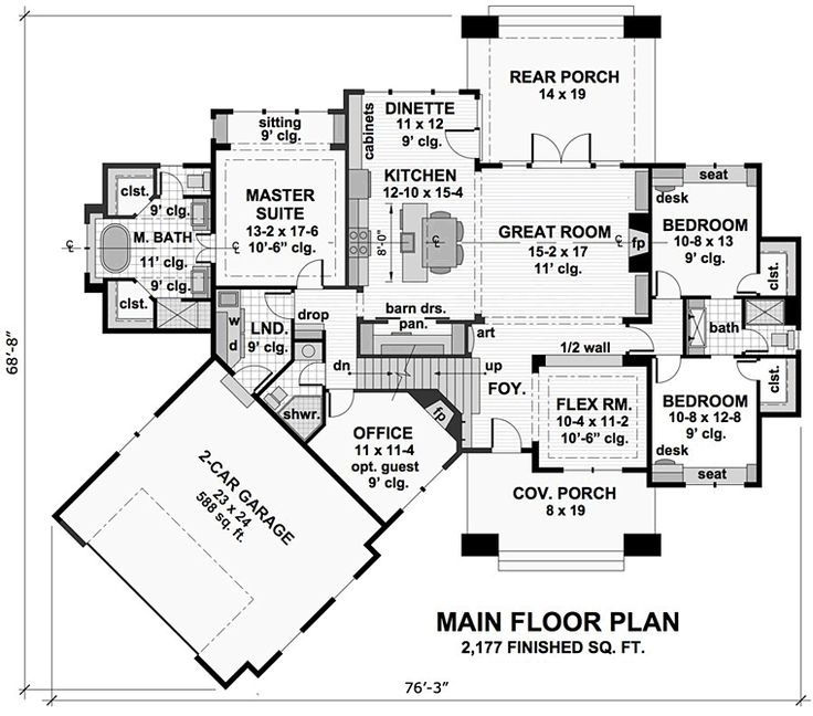 Bungalow cottage craftsman tudor level one of plan 42675 for 1 story bungalow house plans