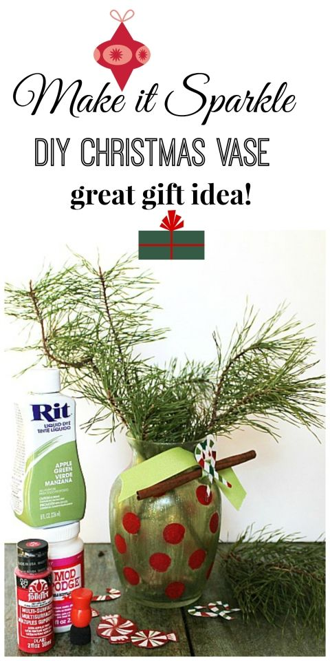 make it sparkle diy Christmas vase from Dollar tree with Mod podge and rit dye