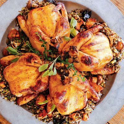 Cornish Game Hens with Wild Rice and Mushroom Stuffing