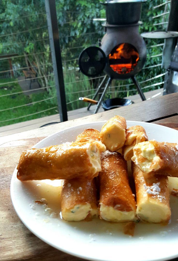 Lemon cheesecake spring rolls