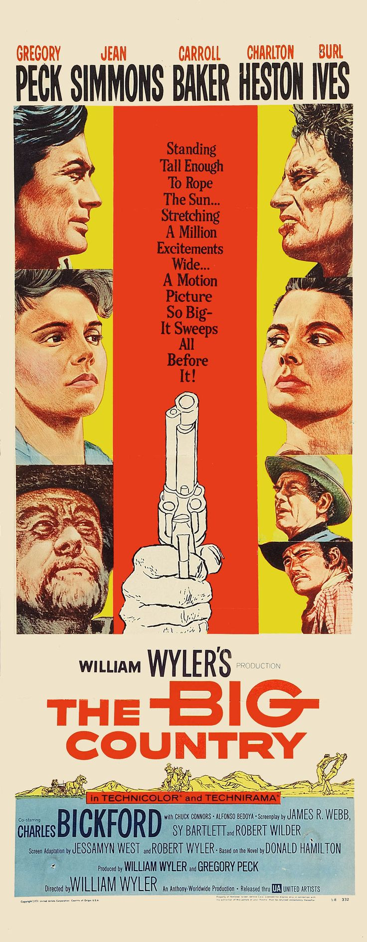 """Horizontes de grandeza """"The Big Country"""" (1958). COUNTRY: United States. DIRECTOR: William Wyler. SCREENWRITER: James R. Webb, Robert Wyler, Sy Bartlett. CAST: Gregory Peck, Charlton Heston, Jean Simmons, Burl Ives, Carroll Baker, Chuck Connors"""