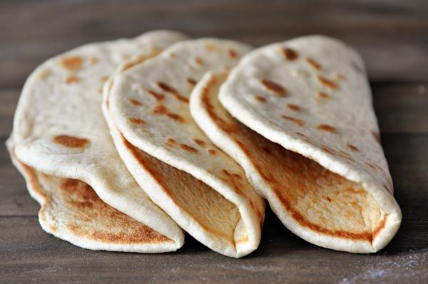 Pita Flatbread - these worked well for yiros... A good recipe and easy to follow instructions. Yum! EDIT: Conversions to UK. water & milk temp = 37 degrees, water volume 150ml, milk 85 ml.  Flour 1 US cup = 150g, so 450g flour in total