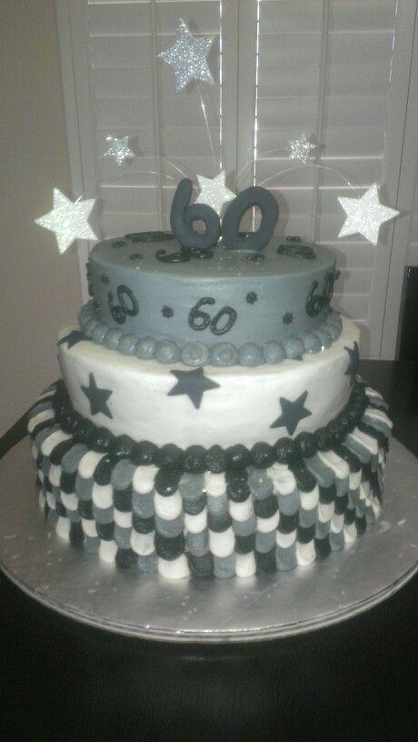 60th Birthday Cake Three Tier Black White And Grey My