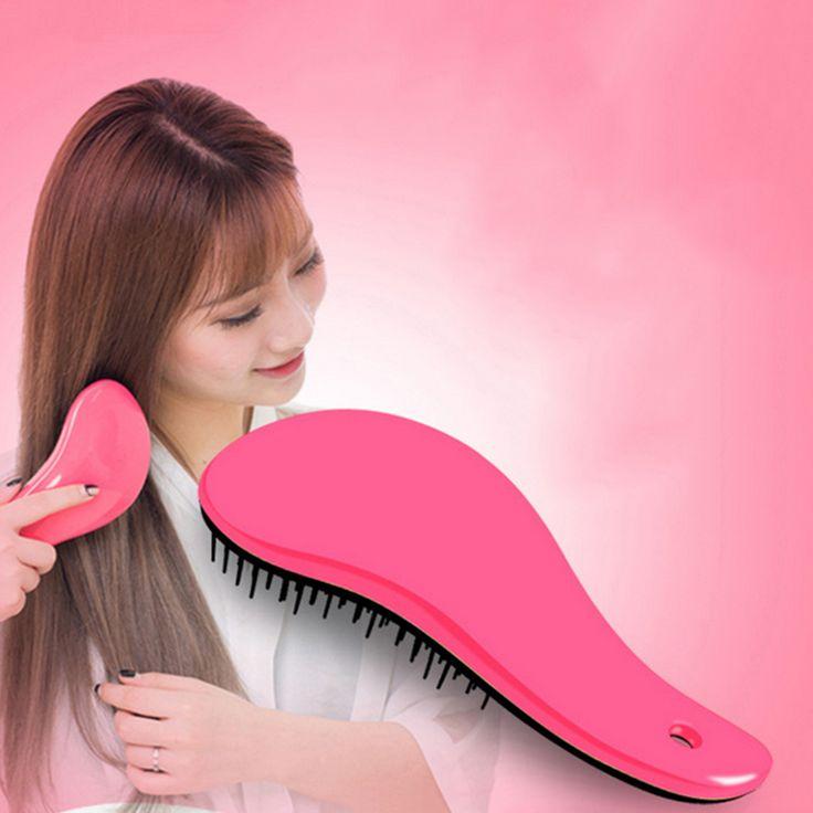 2016 Straightening Hair Brush Combs Handle Straightening Tangle Detangling Tool Hair Care Anti-static Salon Free Shipping I055