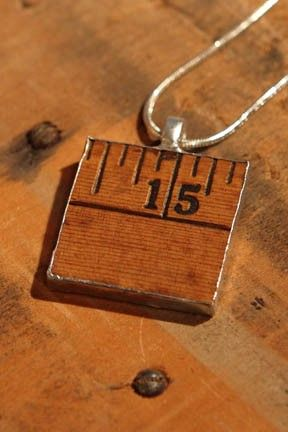 So Cute--using wood ruler for jewelry.