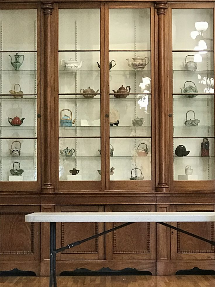 Teapot collection at Mills Hall, Mills College, Oakland, CA