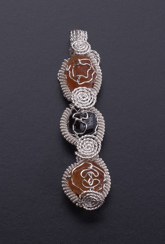 Orange Spessartine Garnets vs. Black Melanite Andradite Garnet Pendant - Garnets Crystals Wire Wrapped in Sterling Silver
