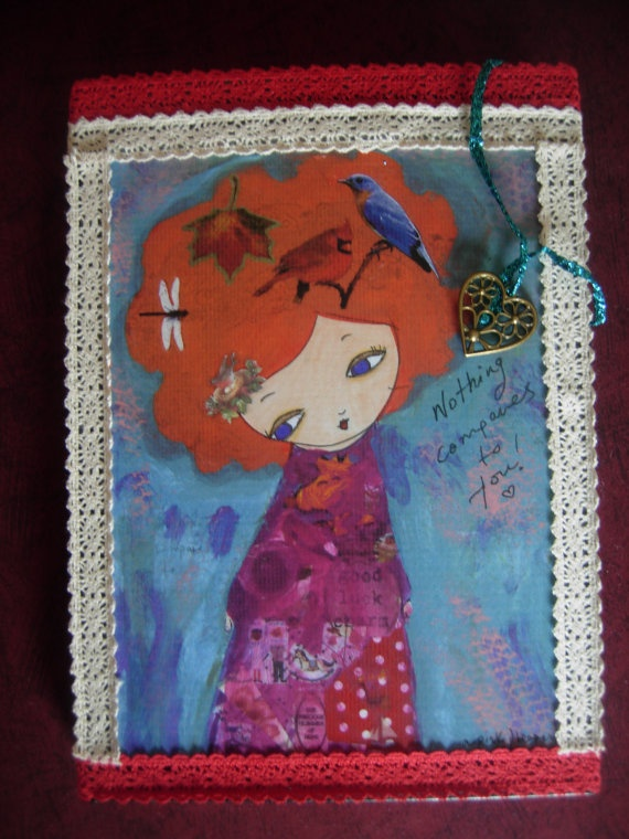 Nothing Compares to You   mixed media Original  fabric by eltsamp, $58.00