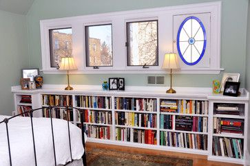 Short, built-in bookcases