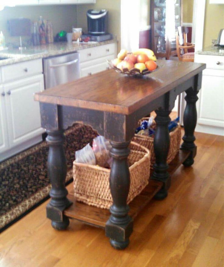 "Farmhouse table island - 24"" x 60"" kitchen island - farm table island in rustic distressed black finish"