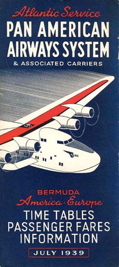 Vintage Airline Timetables: PanAm 1939