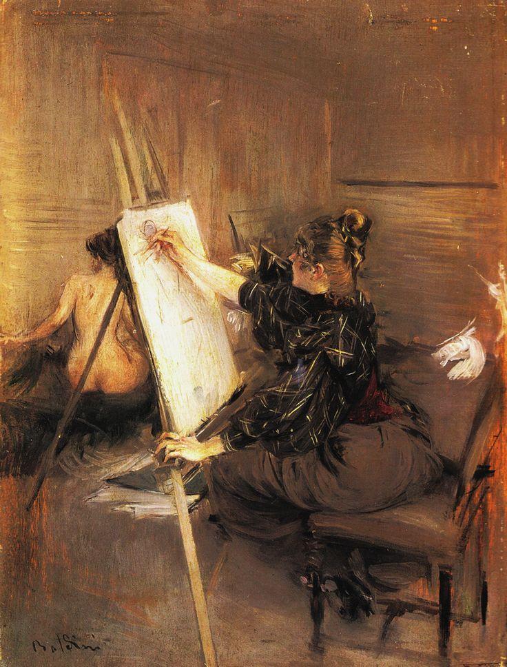 """G.Boldini, """"La pittrice Ruth Sterling nel suo atelier"""" 1892 ,olio su tavola, 34x27 cm , Collezione Privata ."""