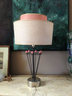 VINTAGE Mid Century Modern ATOMIC Table Lamp With 2 Tier Fiberglass Shade