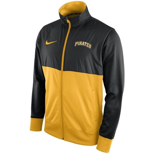 Nike Men's Pittsburgh Pirates Track Jacket (100 CAD) ❤ liked on Polyvore featuring men's fashion, men's clothing, men's activewear, men's activewear jackets, mens activewear, mens track jacket and mens track tops