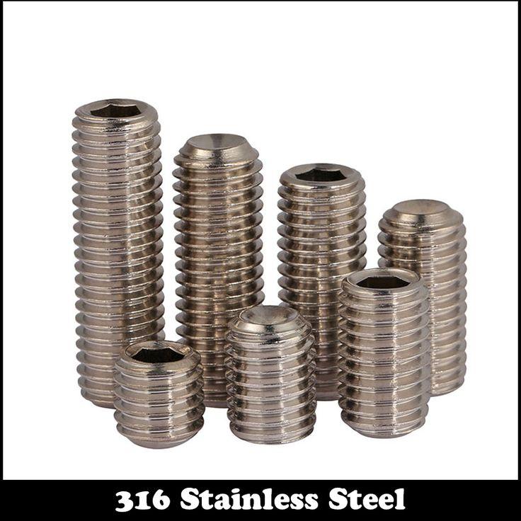 50pcs M3 8mm M3*8mm M3X8 316 Stainless steel SS Grub Top Thread Screw Inner Hexagon Hex Socket Slotted Set Srews #Affiliate