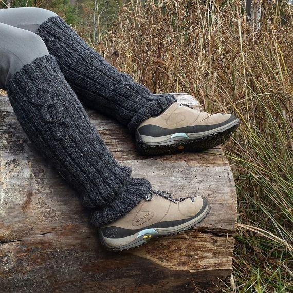Jambières guêtres laine gris foncé femme laine du Canada
