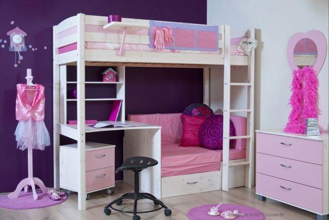 Dit schitterende Sofabed Prinses uit de Thuka Trendy / Flexa Basic collectie is een whitewash hoogslaper met een roze zitje en een bureau.