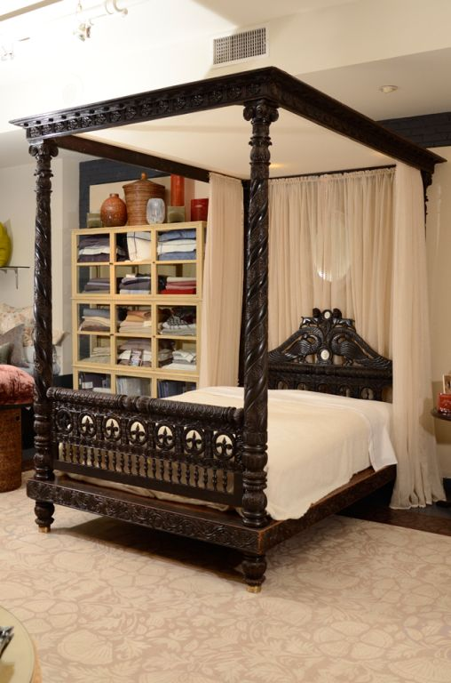 A Finely Carved Anglo-Indian Ebonized Mahogany Tester Bed Indian homes. Indian decor. Traditional indian interiors. Ethnic decor. Indian architecture. Interior design india. Carved indian furniture. Contemporary indian design. Architect India.