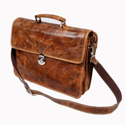 Halo Laptop Bag Uncorrected aniline leather Colour: Vintage Leather Cigar 5 compartments, canvas lined, with shoulder strap and canvas dust bag